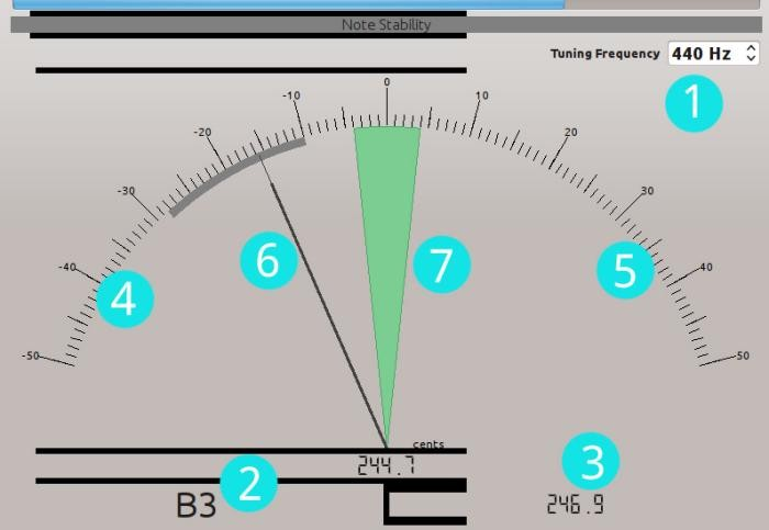 An example of a tuner - Free Music Instrument TunerVersion 0.99.2 - http://gillesdegottex.github.io/fmit/